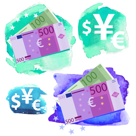 collect: Money icon - Euro, five hundred and one hundred vector bills and currency signs on a watercolor background