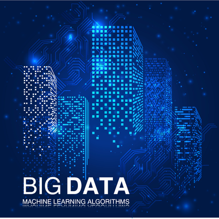 BIG DATA Machine Learning Algorithms. Analyse van informatie Minimalistische Infographics Design. Wetenschap Technologie Achtergrond. Complexe visuele gegevensachtergrond. Abstracte Data Graph.Vector Illustratie.