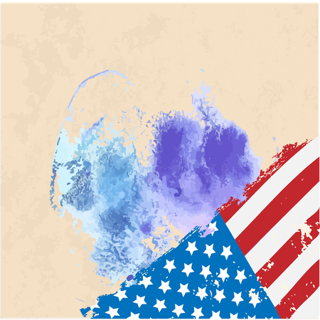 federal election: American Flag. Watercolor Vector image of American Flag. American Flag illustration. United States of America. USA. United States.