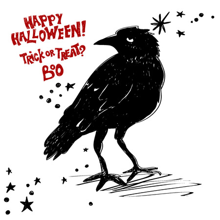 Black raven with Happy Halloween text on white background.