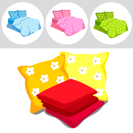 duvet: The perfect color bedding set. Pillows, sheets, blankets. Vector Illustration of a cartoon Illustration