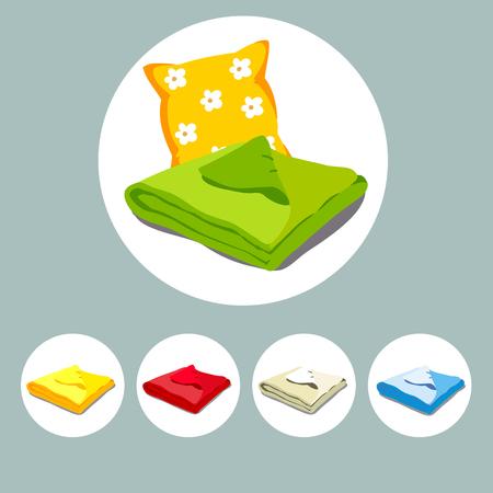 Färben Sie Ikonen gestapelte Bettwäsche oder Tagesdecke und Kissen. Vektor-Illustration einer Karikatur. Vektorgrafik