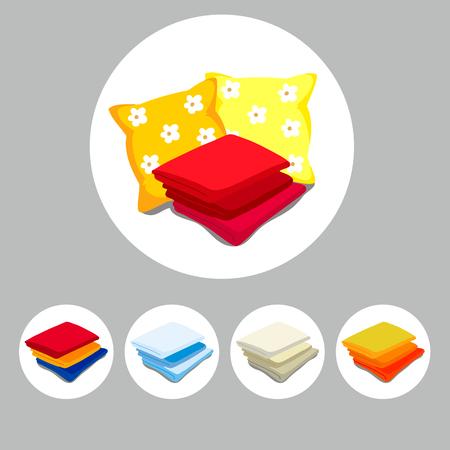 Set accessoires voor slapen en badkamer. Bad beddengoed pictogrammen. Cartoon stijl. Vector illustratie