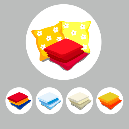 Set of accessories for sleeping and bathroom. Bath bedding pictograms. Cartoon style. Vector illustration Illustration