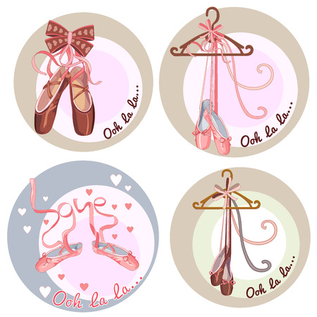 Collection of stickers on the theme ballet dance studio symbol - vector illustration. eps 10 Illustration