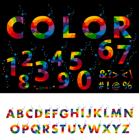 Colored alphabet letters on a Black and a white backdrop. Illustration