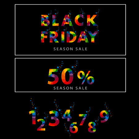 Pre-black Friday Sale banner with abstract elements. A bright, beautiful inscription with confetti and stars on a black background. And the collection of all numbers from 0 to 9 vector illustration