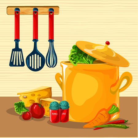 Casserole with vegetables such as carrots tomatoes and peppers cartoon vector illustration