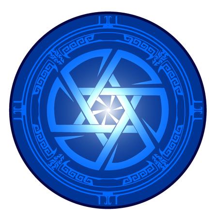 Pictogram Magen David and Kolovrat intertwined in one circle. Star of David , Shield of David , Magen David , vector illustration , icon