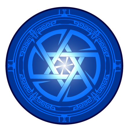 Pictogram Magen David and Kolovrat intertwined in one circle. Star of David , Shield of David , Magen David , vector illustration , icon