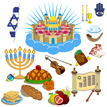 Hanukkah Symbols. The icons in the cartoon style. Vector illustration.