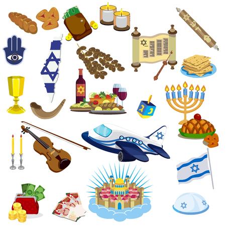 ユダヤ教の伝統的なシンボルアイコンが設定され、ユダヤ人のシンボルはベクトルイラストを分離。