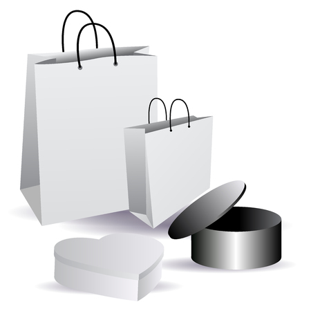 Set cardboard boxes. Mock Up Template For Your Design. vector Illustration