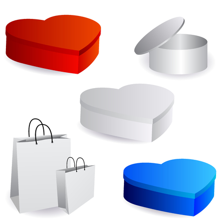 White package design templates.Cylindrical box with an open lid, boxes in the shape of heart in color, paper bags. Vector illustration Stock Photo
