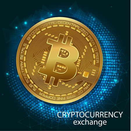 Crypto-Currency Of Bitcoin - Stock Exchange Trading Via Mobile App. Graphic illustration on the subject of 'exchange cryptocurrency'. Banner. vector illustration