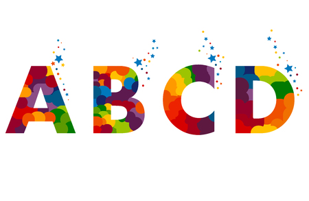 Vector colorful alphabet made of overlapping shapes. Beautiful vivid capital latin letters A B C D. Ready for poster or artwork design. Çizim