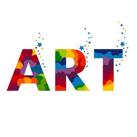 litery sztuki ilustracji. Gotowy do projektowania plakatu lub grafiki. Szablon dla galerii sztuki, pracowni artystycznej, szkoły artystycznej.
