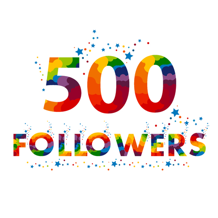 500 followers colored numbers. 500 follow number. The vector thanks card for network friends with colorful font.