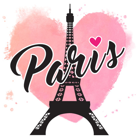 Paris hand drawn vector lettering and Eiffer Tower. Paris ink lettering. Design element for cards, banners, flyers, Paris lettering against the background of watercolor heart Stock Illustratie