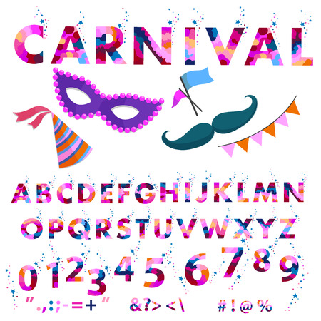 Vector of stylized font and alphabet. carnival alphabet colorful sticker alphabet with number and plus, minus, division, multiplication, quotation marks, equals. colored letters for card, banners