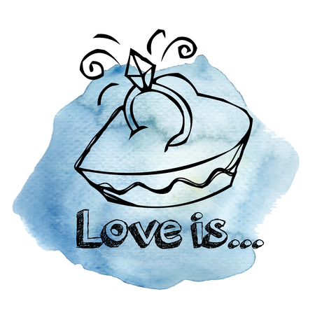 Love is..Text box with ring Watercolor Vector.