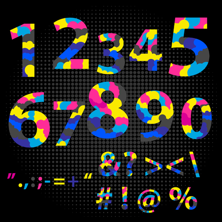 Numbers Sign Set Vector. cmyk font typeface. Figures 1, 2, 3, 4 5 6 7 8 9 0 Made from overlayed Cyan Magenta and Yellow