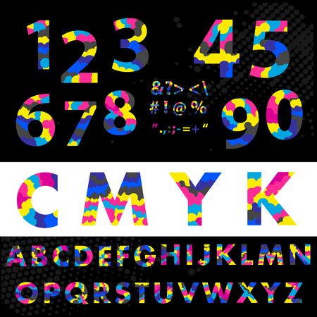cmyk font typeface. Made from overlayed Cyan Magenta and Yellow. Figures 1, 2, 3, 4 5 6 7 8 9 0 Made from overlayed Cyan Magenta and Yellow