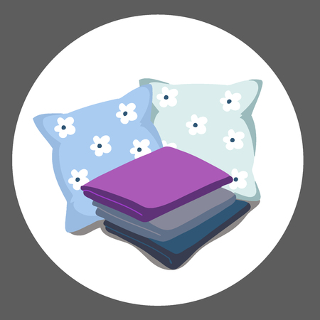 bedding Vector Illustration of a cartoon. ultra violet purple color of the year 2018 Çizim