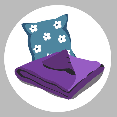 Color bed linen. Pillows, sheets, blankets. Vector Illustration of a cartoon. ultra violet purple color of the year 2018