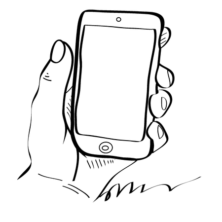 Hands holding smartphone. Flat line icon. Vector illustration.