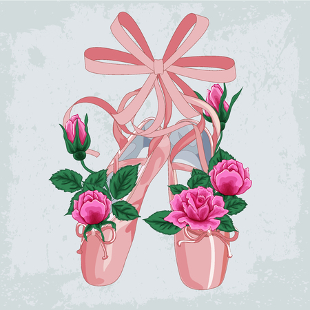 Background with ballet slippers and space for your text. Vector Illustration of ballet slippers with roses