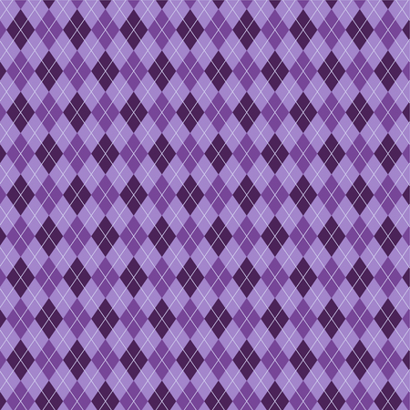 Seamless tartan plaid pattern. Diagonal check print in stripes of dark purple, light lavender purple and pale periwinkle blue. Fabric texture background.