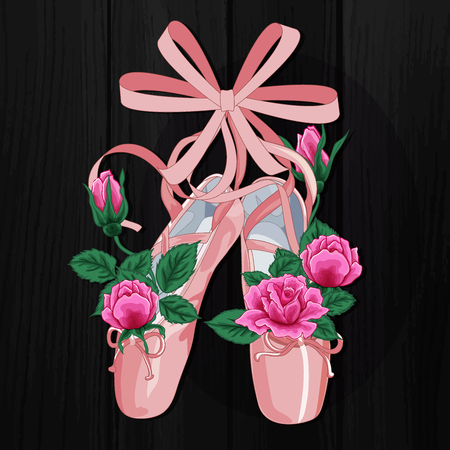 Pink pointes female ballet shoes with pink roses flat design on black background. Vector illustration of ballet shoes, web banner.