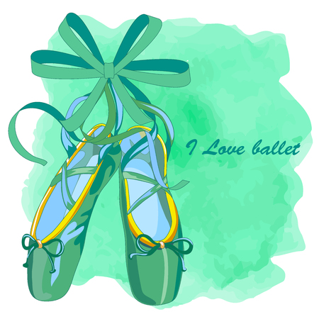 Emerald color ballet shoes on watercolor textures flat design. Vector illustration of ballet shoes standing on tiptoes web banner.