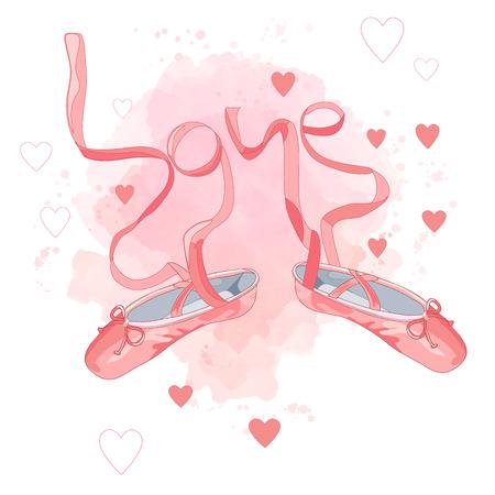 Pink Ballet shoes flat design. Vector illustration of ballet shoes on white background