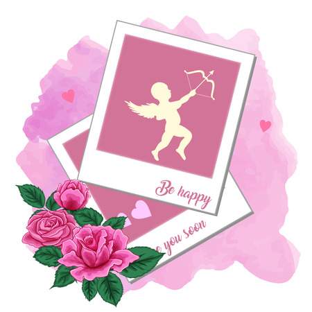 Photo frames, pink roses and cupid on a watercolor background. Vector illustration is easy to edit. Illustration