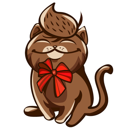 An illustration of a brown contented cat cartoon character with a red bow around his neck. Colored vector illustration print, poster, card, t-shirt.