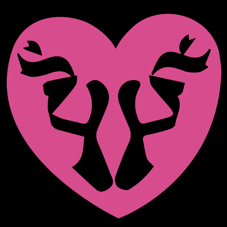 Ballet shoes icon concluded in pink the heart on a black background. Colored vector illustration print, poster, card, t-shirt.