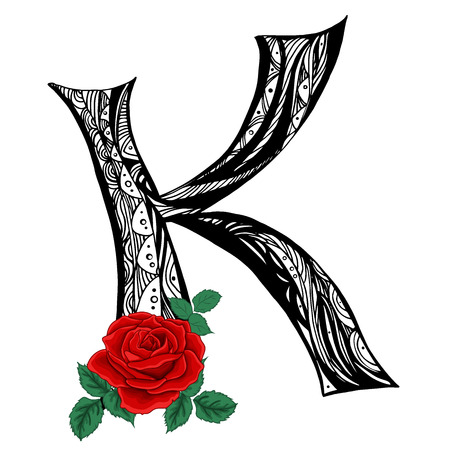 Elegant capital letter K in the style of the doodle. Black and white pattern with scarlet roses. To use monograms, logos, emblems and initials.