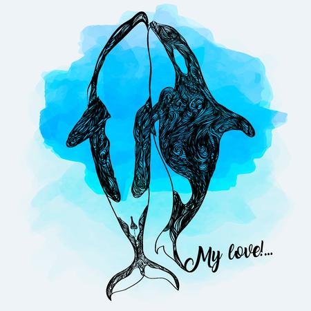 Ilustración de doodle de orca. Dibujado a mano ilustración vectorial.