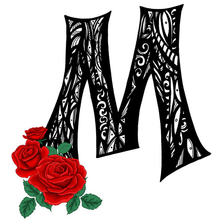 Elegant capital letter M in the style of the Doodle. Black and white pattern with scarlet roses.
