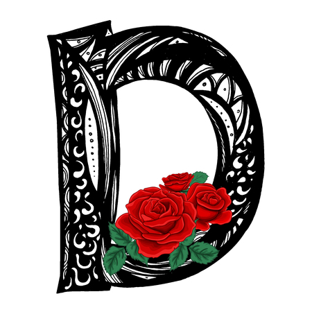 D letter with red roses. Vector illustration. Uppercase. Doodle style. Floral alphabet  イラスト・ベクター素材