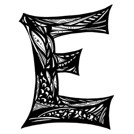 Letter E on white background. Free hand drawn. Vector illustration.