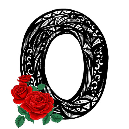 O Letter and red Rose. Logo Template. hand drawn vector illustration.