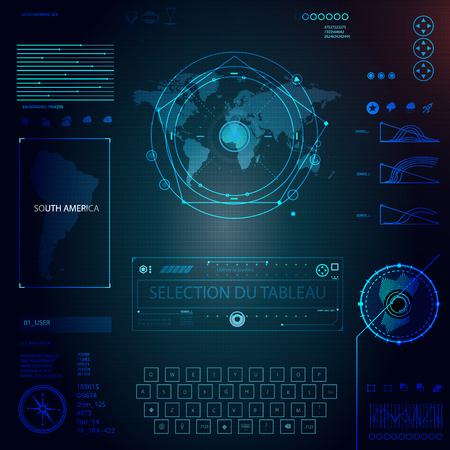 éléments ensemble pour infographie hud sci fi fi illustration vectorielle Vecteurs
