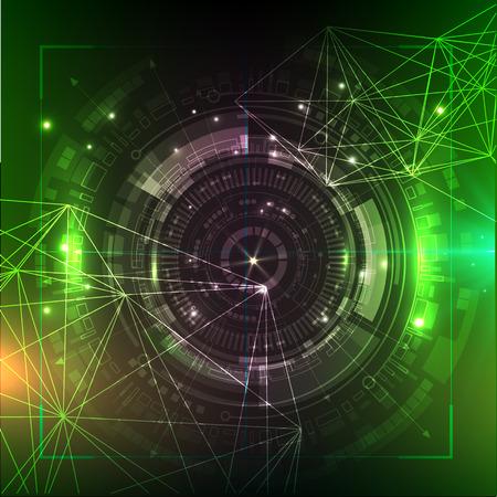 グリーンテクノロジーの背景。未来ベクトルのイラスト。HUD 要素。ビッグデータ  イラスト・ベクター素材