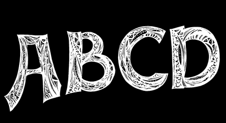 Handwritten script font of alphabet letters design for tattoo.