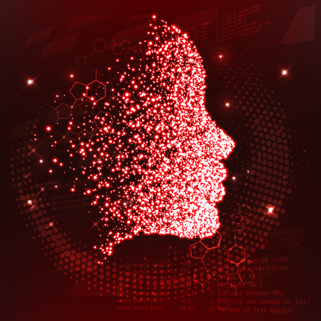 Lines connected to thinkers, symbolizing the meaning of artificial intelligence. The particles are collected in the girls face. Vector illustration. New technologies Illustration