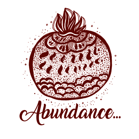 Hand drawn pomegranat. Pomegranate doodle style. The symbol of abundance. isolated vector illustration.