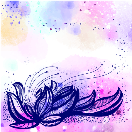 Lotus hand drawn vector illustration on a watercolor background. Template for your design Ilustração